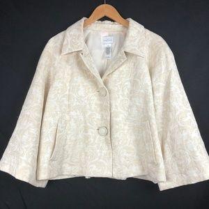 Emma James Cream Crop Sleeve Blazer Sz 14